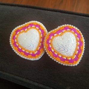 Orange/pink beaded earrings